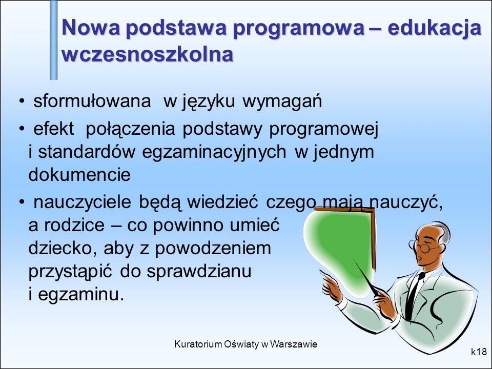Kuratorium Oświaty w Warszawie k18 Nowa podstawa programowa – edukacja wczesnoszkolna sformułowana w języku wymagań efekt połączenia podstawy programo