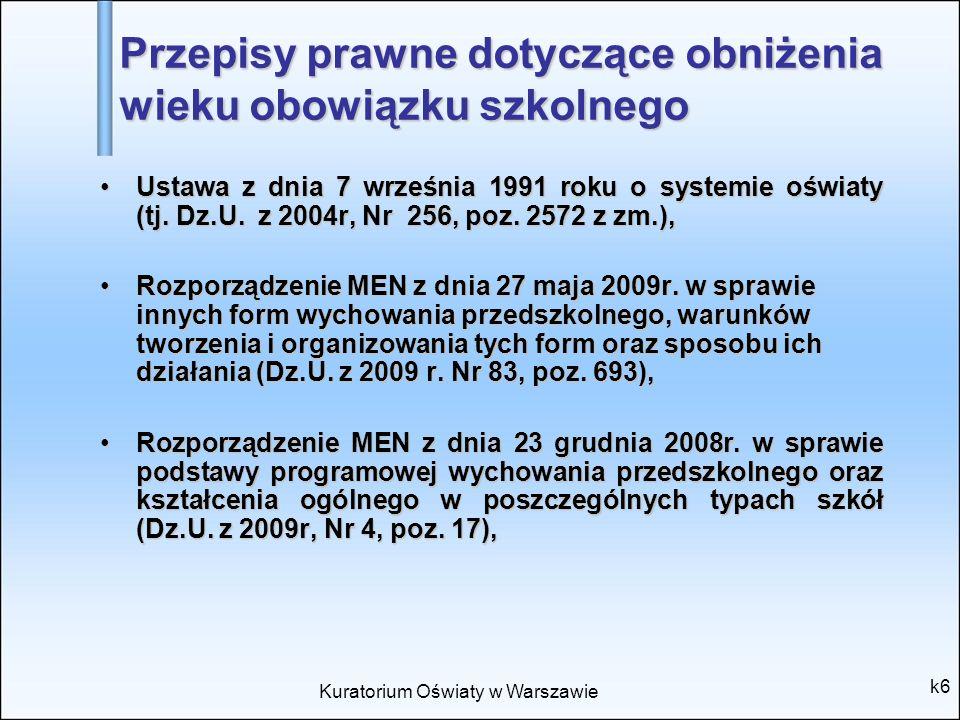 Kuratorium Oświaty w Warszawie k6 Przepisy prawne dotyczące obniżenia wieku obowiązku szkolnego Ustawa z dnia 7 września 1991 roku o systemie oświaty