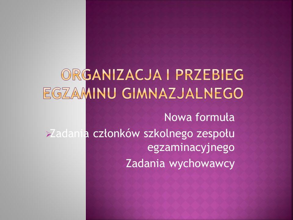 Nowa formuła Zadania członków szkolnego zespołu egzaminacyjnego Zadania wychowawcy