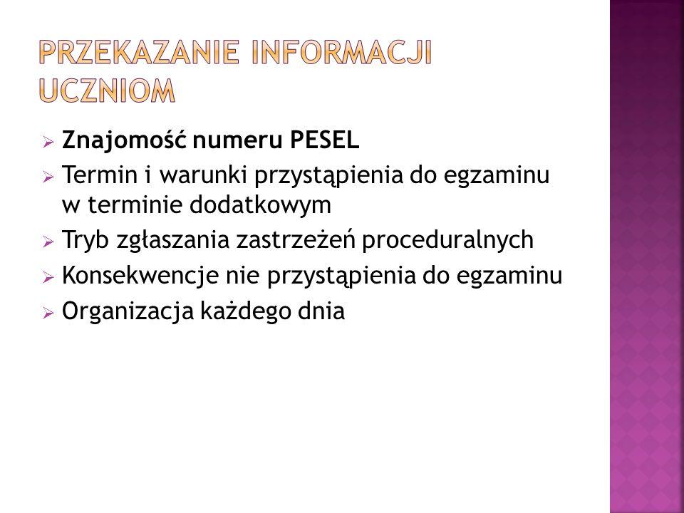 Znajomość numeru PESEL Termin i warunki przystąpienia do egzaminu w terminie dodatkowym Tryb zgłaszania zastrzeżeń proceduralnych Konsekwencje nie prz