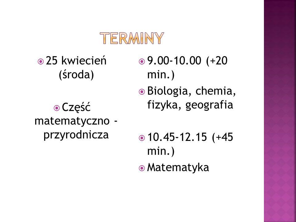 26 kwiecień (czwartek) język angielski 9.00-10.00 (+20 min.) Poziom podstawowy 10.45-11.45 (+30 min.) Poziom rozszerzony