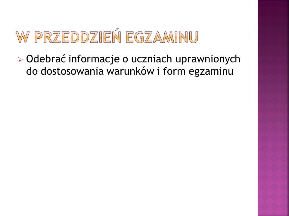 Odebrać informacje o uczniach uprawnionych do dostosowania warunków i form egzaminu