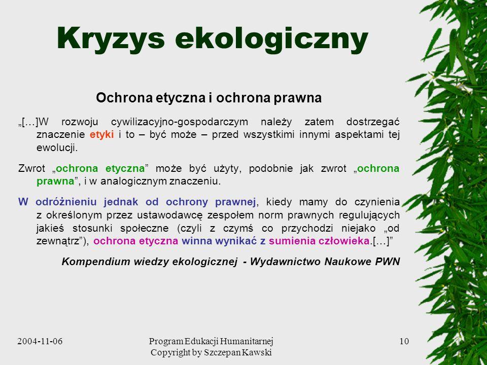 2004-11-06Program Edukacji Humanitarnej Copyright by Szczepan Kawski 10 Kryzys ekologiczny Ochrona etyczna i ochrona prawna […]W rozwoju cywilizacyjno