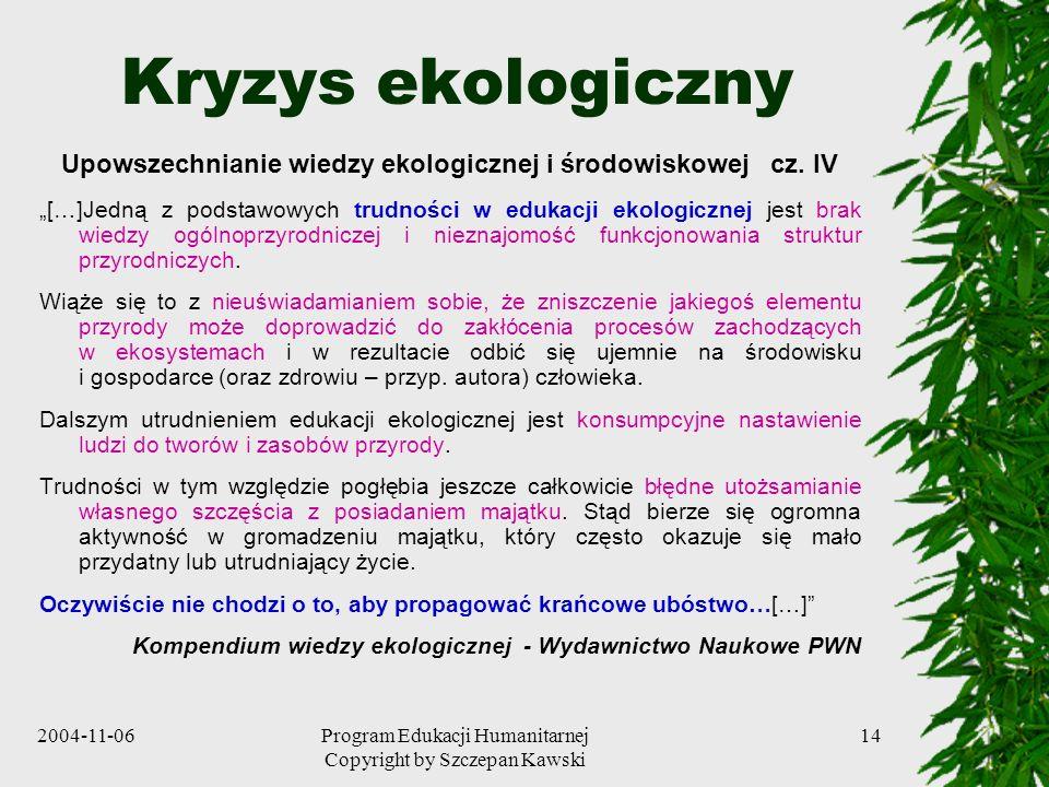 2004-11-06Program Edukacji Humanitarnej Copyright by Szczepan Kawski 14 Kryzys ekologiczny Upowszechnianie wiedzy ekologicznej i środowiskowej cz. IV