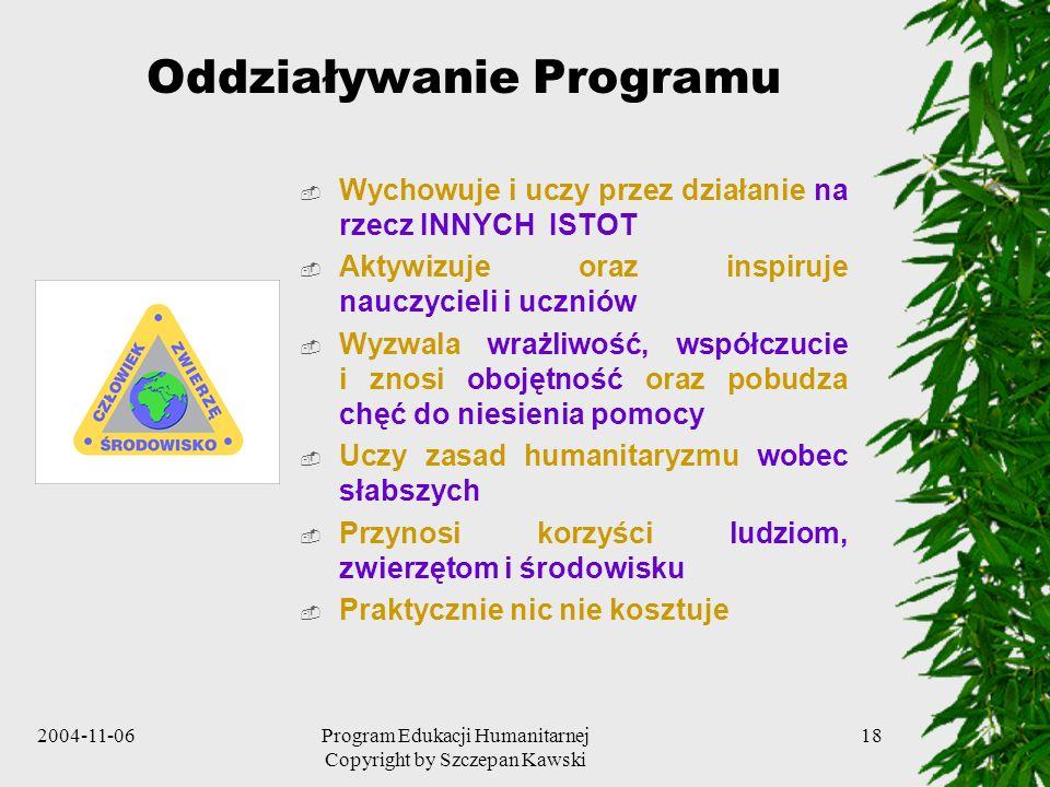 2004-11-06Program Edukacji Humanitarnej Copyright by Szczepan Kawski 18 Oddziaływanie Programu Wychowuje i uczy przez działanie na rzecz INNYCH ISTOT
