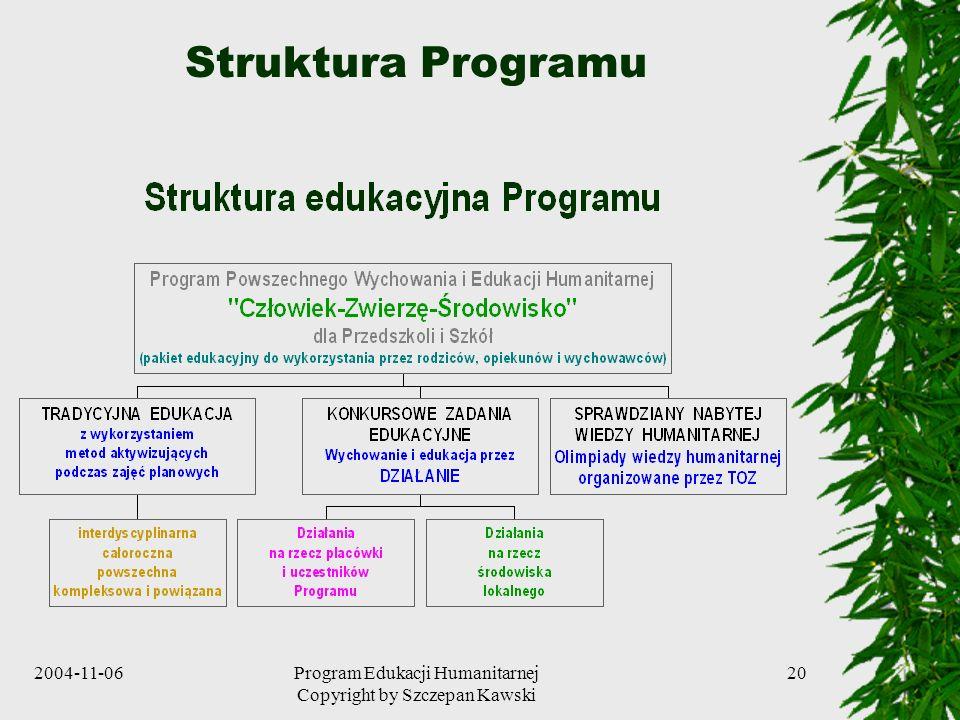 2004-11-06Program Edukacji Humanitarnej Copyright by Szczepan Kawski 20 Struktura Programu