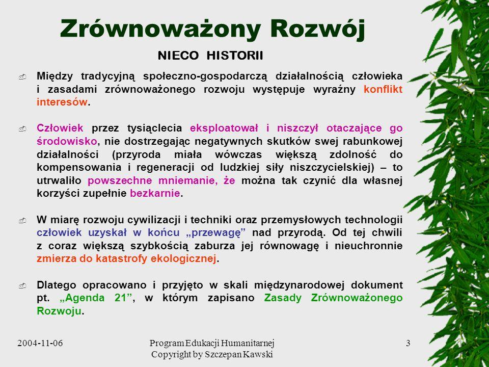 2004-11-06Program Edukacji Humanitarnej Copyright by Szczepan Kawski 3 Zrównoważony Rozwój NIECO HISTORII Między tradycyjną społeczno-gospodarczą dzia