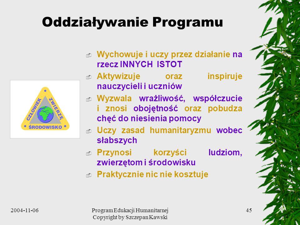 2004-11-06Program Edukacji Humanitarnej Copyright by Szczepan Kawski 45 Oddziaływanie Programu Wychowuje i uczy przez działanie na rzecz INNYCH ISTOT