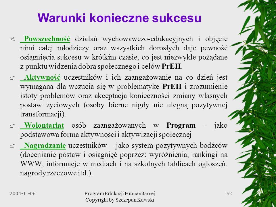 2004-11-06Program Edukacji Humanitarnej Copyright by Szczepan Kawski 52 Warunki konieczne sukcesu Powszechność działań wychowawczo-edukacyjnych i obję