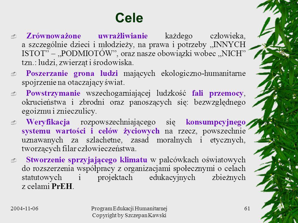 2004-11-06Program Edukacji Humanitarnej Copyright by Szczepan Kawski 61 Cele Zrównoważone uwrażliwianie każdego człowieka, a szczególnie dzieci i młod