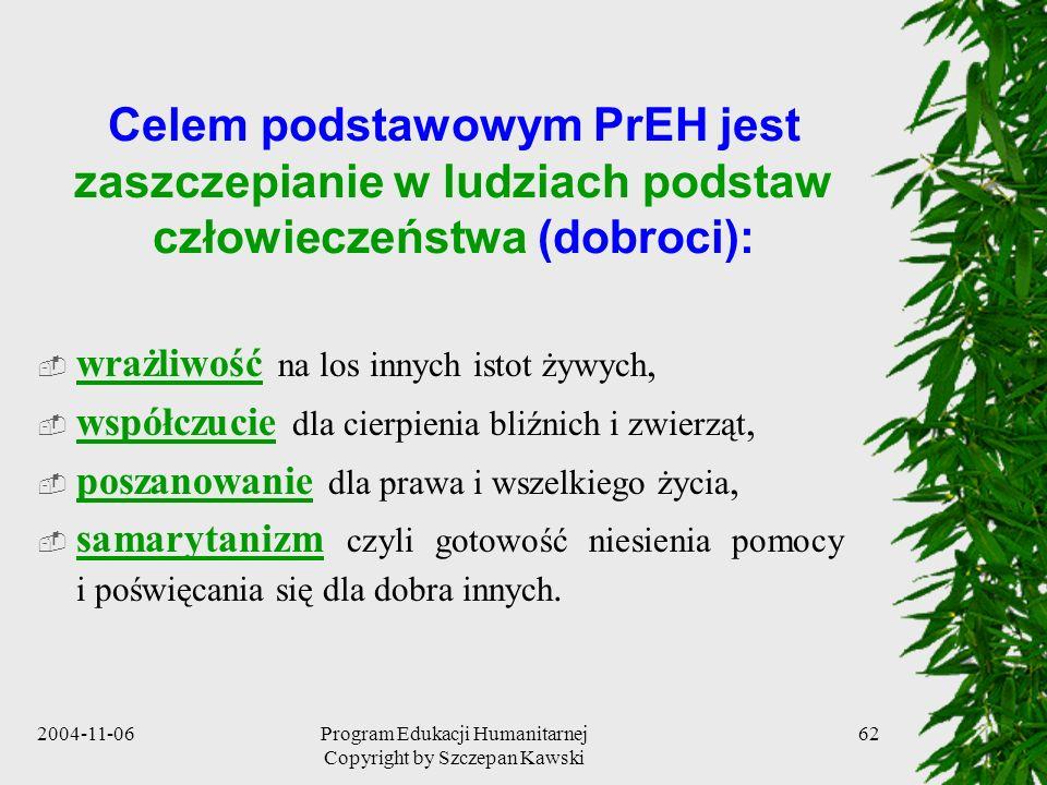 2004-11-06Program Edukacji Humanitarnej Copyright by Szczepan Kawski 62 Celem podstawowym PrEH jest zaszczepianie w ludziach podstaw człowieczeństwa (