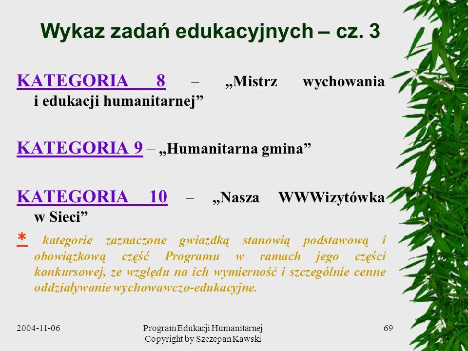 2004-11-06Program Edukacji Humanitarnej Copyright by Szczepan Kawski 69 Wykaz zadań edukacyjnych – cz. 3 KATEGORIA 8 – Mistrz wychowania i edukacji hu