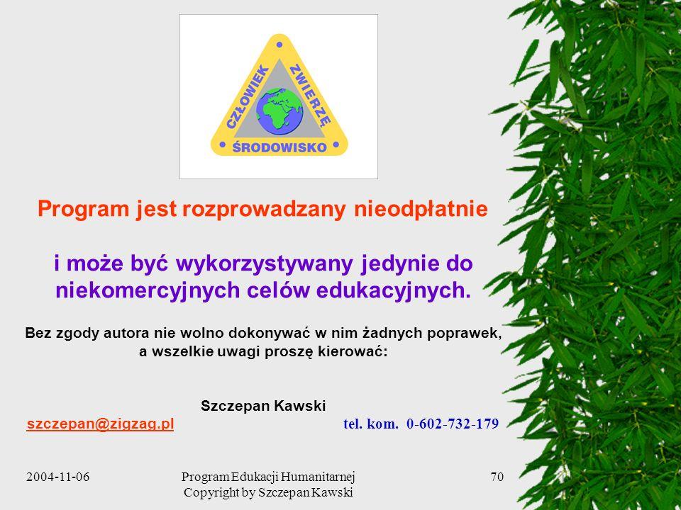 2004-11-06Program Edukacji Humanitarnej Copyright by Szczepan Kawski 70 Program jest rozprowadzany nieodpłatnie i może być wykorzystywany jedynie do n