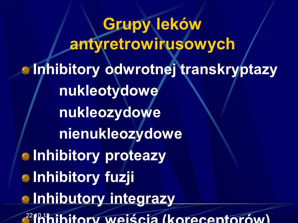 22.10.12 Grupy leków antyretrowirusowych Inhibitory odwrotnej transkryptazy nukleotydowe nukleozydowe nienukleozydowe Inhibitory proteazy Inhibitory fuzji Inhibutory integrazy Inhibitory wejścia (koreceptorów)