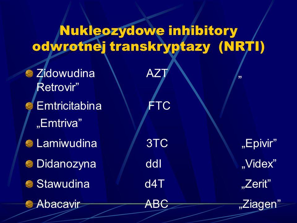 Nukleozydowe inhibitory odwrotnej transkryptazy (NRTI) Zidowudina AZT Retrovir Emtricitabina FTC Emtriva Lamiwudina 3TC Epivir Didanozyna ddI Videx Stawudina d4T Zerit Abacavir ABC Ziagen
