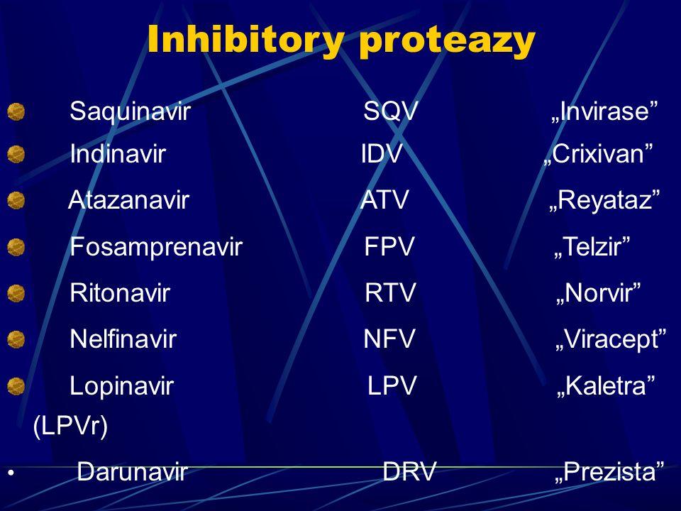 Inhibitory proteazy Saquinavir SQV Invirase Indinavir IDV Crixivan Atazanavir ATV Reyataz Fosamprenavir FPV Telzir Ritonavir RTV Norvir Nelfinavir NFV Viracept Lopinavir LPV Kaletra (LPVr) Darunavir DRV Prezista