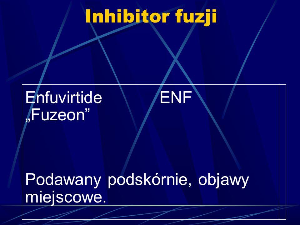 Inhibitor fuzji Enfuvirtide ENF Fuzeon Podawany podskórnie, objawy miejscowe.