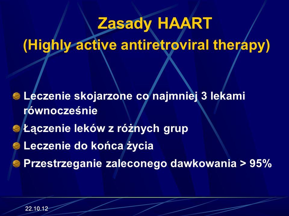 22.10.12 Zasady HAART (Highly active antiretroviral therapy) Leczenie skojarzone co najmniej 3 lekami równocześnie Łączenie leków z różnych grup Leczenie do końca życia Przestrzeganie zaleconego dawkowania > 95%
