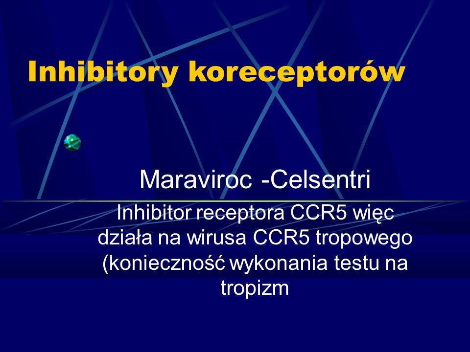 Inhibitory koreceptorów Maraviroc -Celsentri Inhibitor receptora CCR5 więc działa na wirusa CCR5 tropowego (konieczność wykonania testu na tropizm