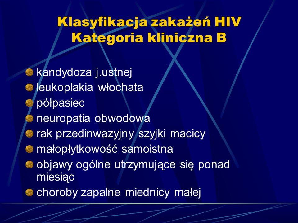 Klasyfikacja zakażeń HIV Kategoria kliniczna B kandydoza j.ustnej leukoplakia włochata półpasiec neuropatia obwodowa rak przedinwazyjny szyjki macicy małopłytkowość samoistna objawy ogólne utrzymujące się ponad miesiąc choroby zapalne miednicy małej