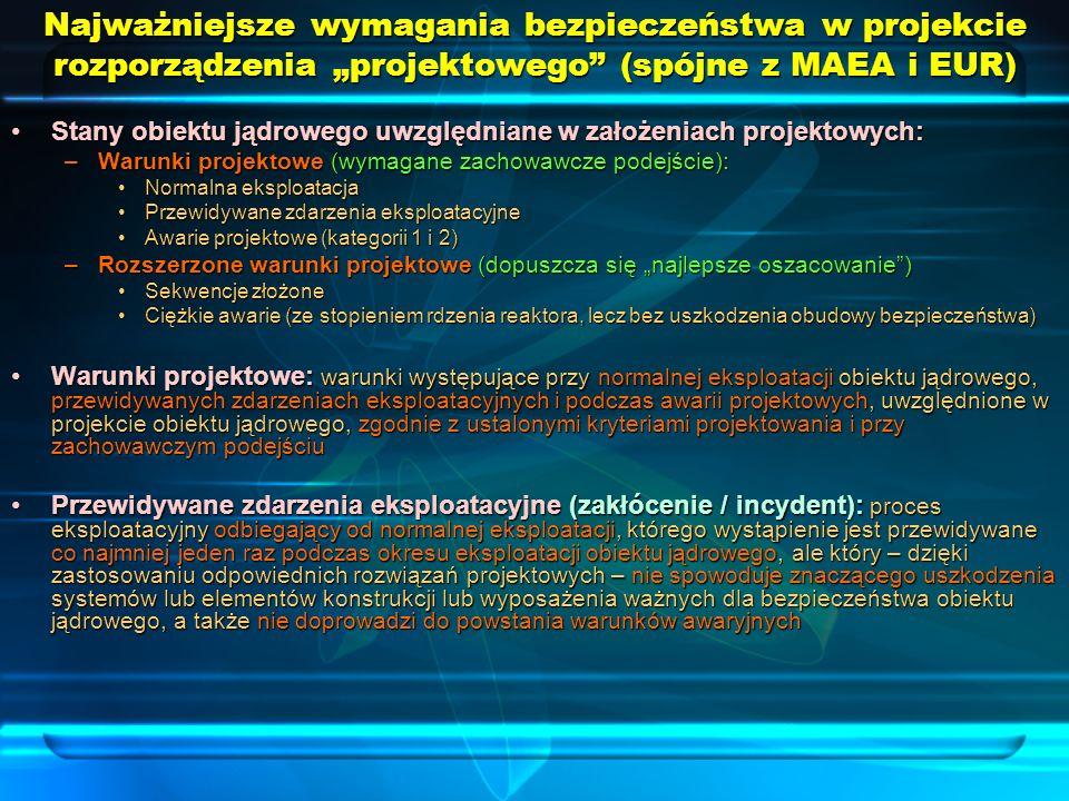 Najważniejsze wymagania bezpieczeństwa w projekcie rozporządzenia projektowego (spójne z MAEA i EUR) Stany obiektu jądrowego uwzględniane w założeniac