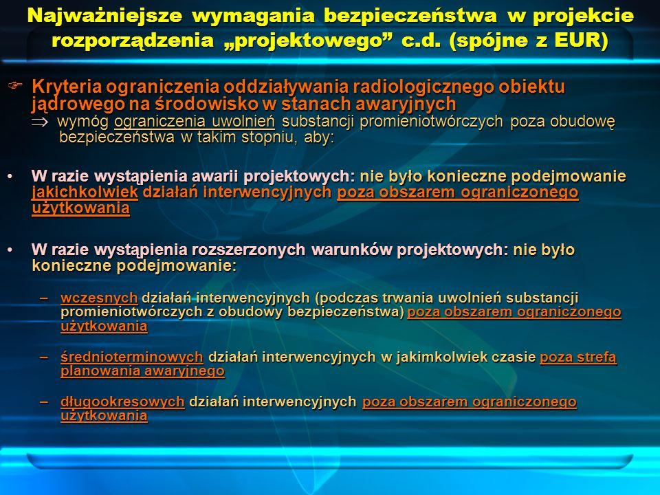 Najważniejsze wymagania bezpieczeństwa w projekcie rozporządzenia projektowego c.d. (spójne z EUR) Kryteria ograniczenia oddziaływania radiologicznego