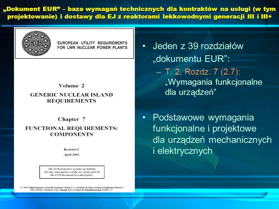 Dokument EUR – baza wymagań technicznych dla kontraktów na usługi (w tym projektowanie) i dostawy dla EJ z reaktorami lekkowodnymi generacji III i III