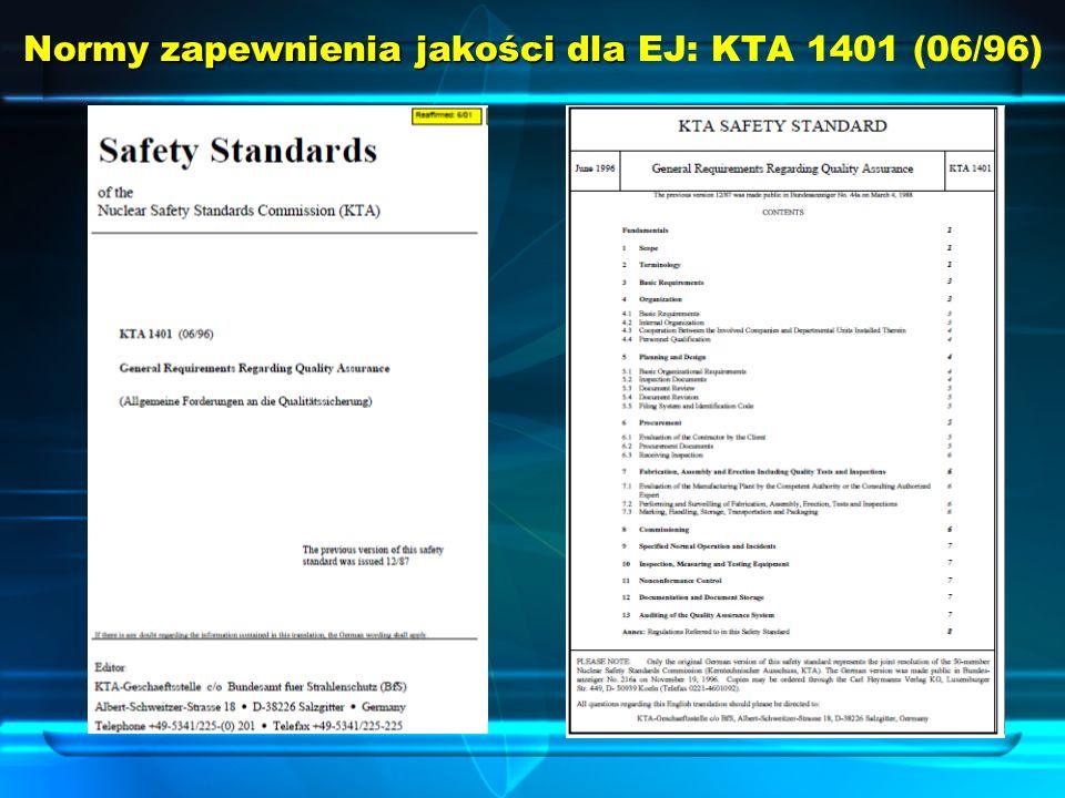 Normy zapewnienia jakości dla Normy zapewnienia jakości dla EJ: KTA 1401 (06/96)