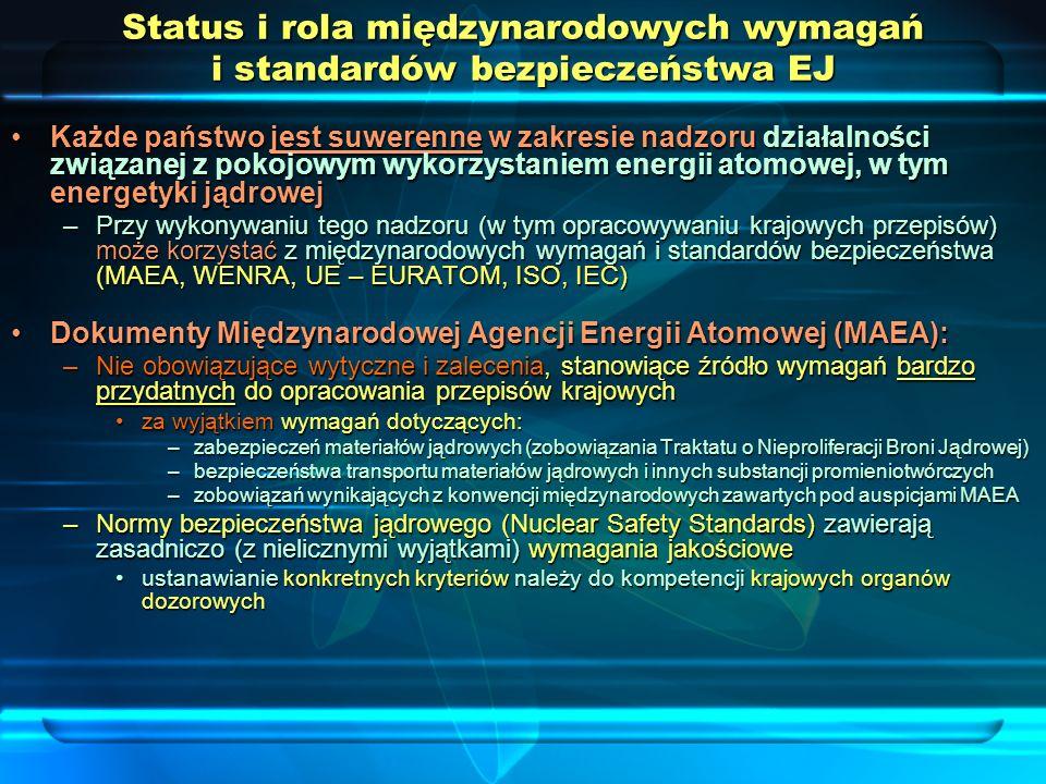 Wymagania i zalecenia dotyczące bezpieczeństwa EJ: normy bezpieczeństwa MAEA (IAEA Safety Standards) – nowa struktura dokumentów (w trakcie zmian) Fundamentalne zasady bezpieczeństwa Generalne wymagania bezpieczeństwa Specyficzne wymagania bezpieczeństwa Generalne wytyczne bezpieczeństwa Specyficzne wytyczne bezpieczeństwa