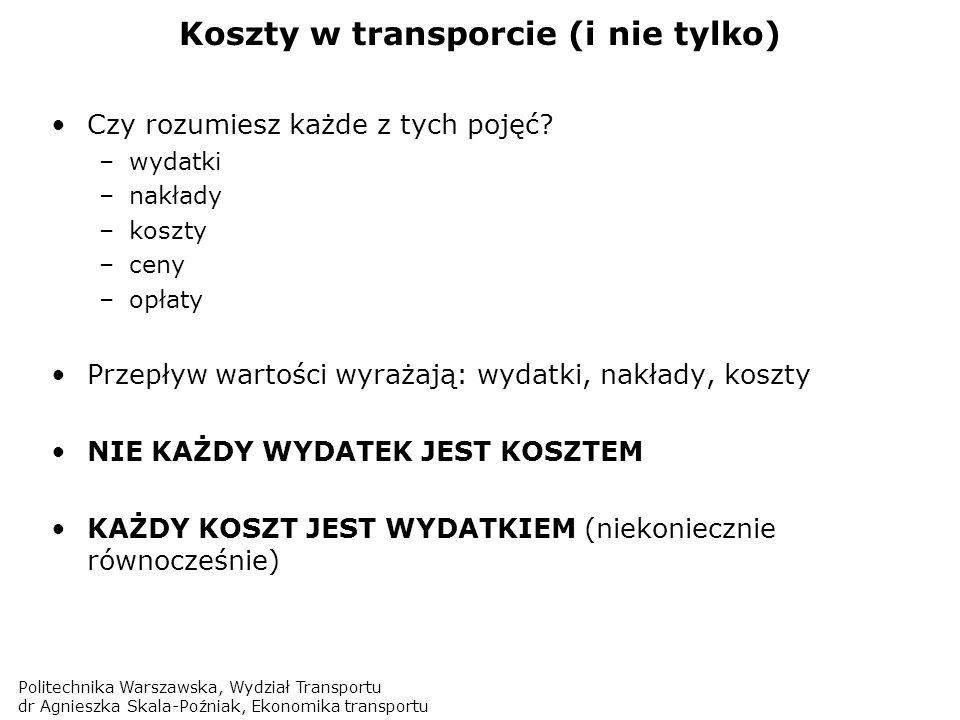 Politechnika Warszawska, Wydział Transportu dr Agnieszka Skala-Poźniak, Ekonomika transportu Koszty cd… Wydatki – pojęcie najszersze (ang.