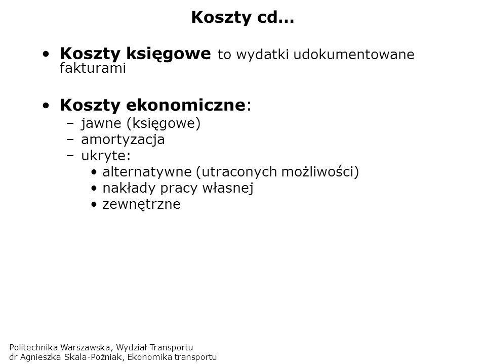 Politechnika Warszawska, Wydział Transportu dr Agnieszka Skala-Poźniak, Ekonomika transportu PKP Intercity 2007