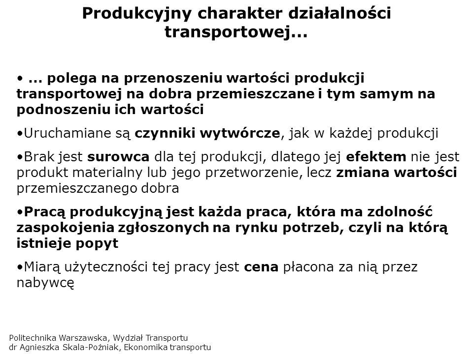 Politechnika Warszawska, Wydział Transportu dr Agnieszka Skala-Poźniak, Ekonomika transportu Produkcyjny charakter działalności transportowej...... po