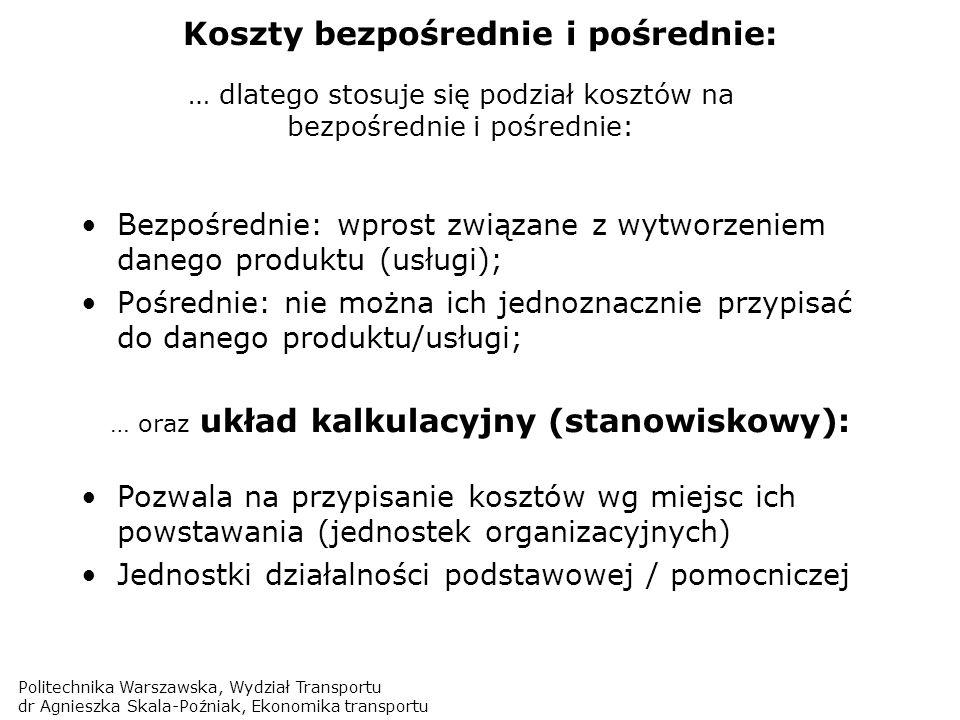 Politechnika Warszawska, Wydział Transportu dr Agnieszka Skala-Poźniak, Ekonomika transportu Koszty bezpośrednie i pośrednie: Bezpośrednie: wprost zwi