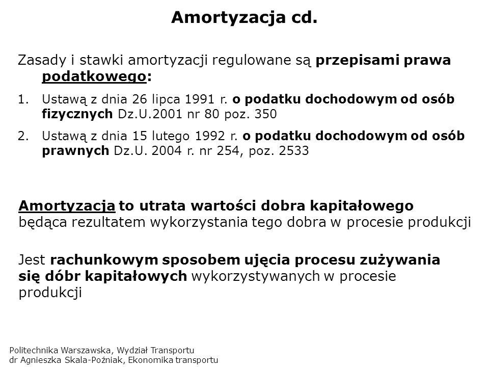Politechnika Warszawska, Wydział Transportu dr Agnieszka Skala-Poźniak, Ekonomika transportu Amortyzacja cd. Zasady i stawki amortyzacji regulowane są