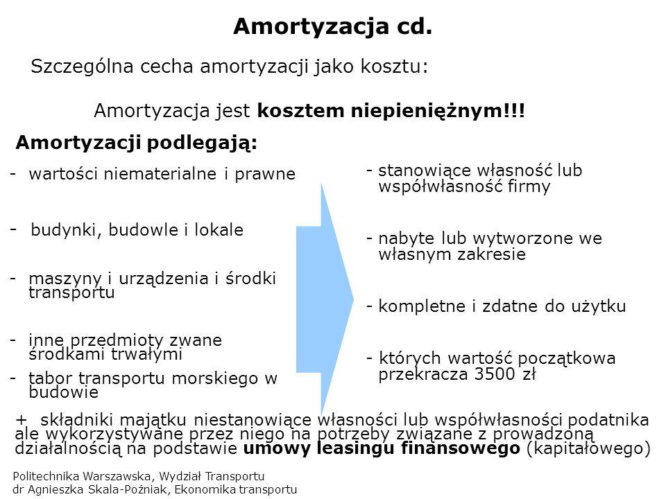 Politechnika Warszawska, Wydział Transportu dr Agnieszka Skala-Poźniak, Ekonomika transportu Amortyzacja cd. Amortyzacji podlegają: -wartości niemater