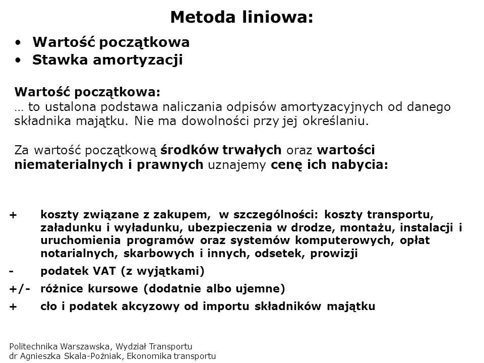 Politechnika Warszawska, Wydział Transportu dr Agnieszka Skala-Poźniak, Ekonomika transportu Metoda liniowa: Wartość początkowa Stawka amortyzacji War
