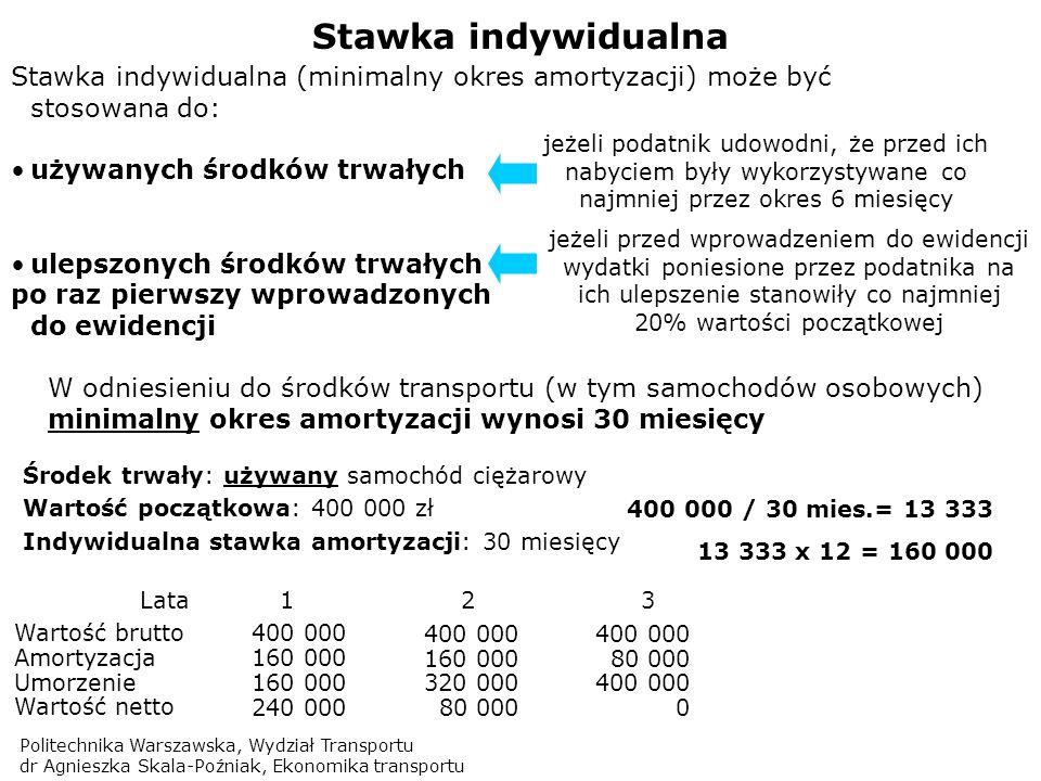 Politechnika Warszawska, Wydział Transportu dr Agnieszka Skala-Poźniak, Ekonomika transportu Stawka indywidualna Stawka indywidualna (minimalny okres