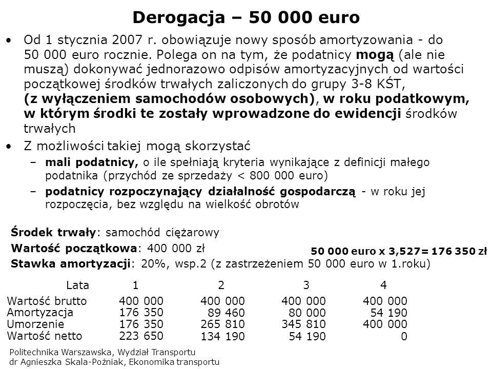 Politechnika Warszawska, Wydział Transportu dr Agnieszka Skala-Poźniak, Ekonomika transportu Derogacja – 50 000 euro Od 1 stycznia 2007 r. obowiązuje