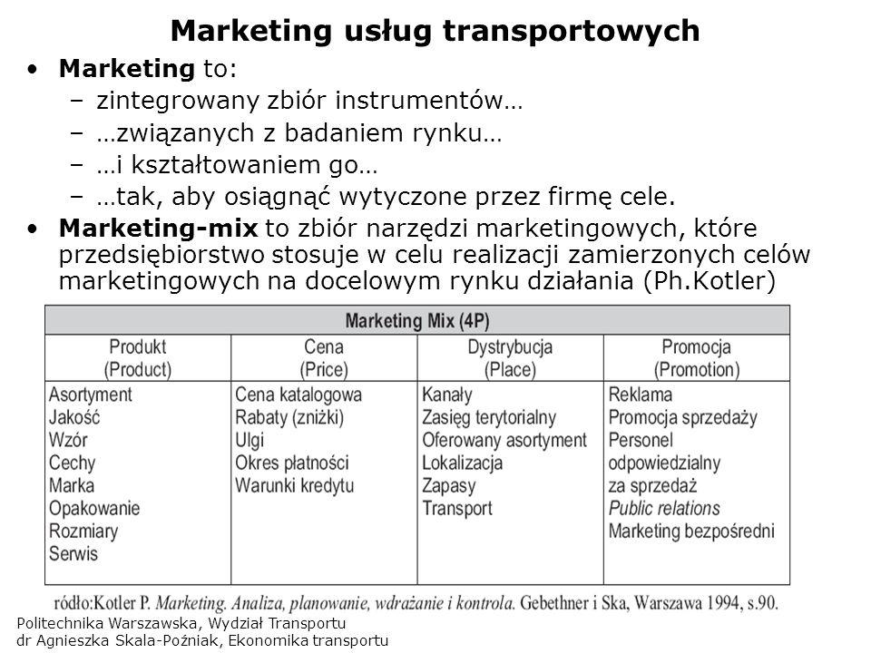 Politechnika Warszawska, Wydział Transportu dr Agnieszka Skala-Poźniak, Ekonomika transportu Marketing usług transportowych Marketing to: –zintegrowan