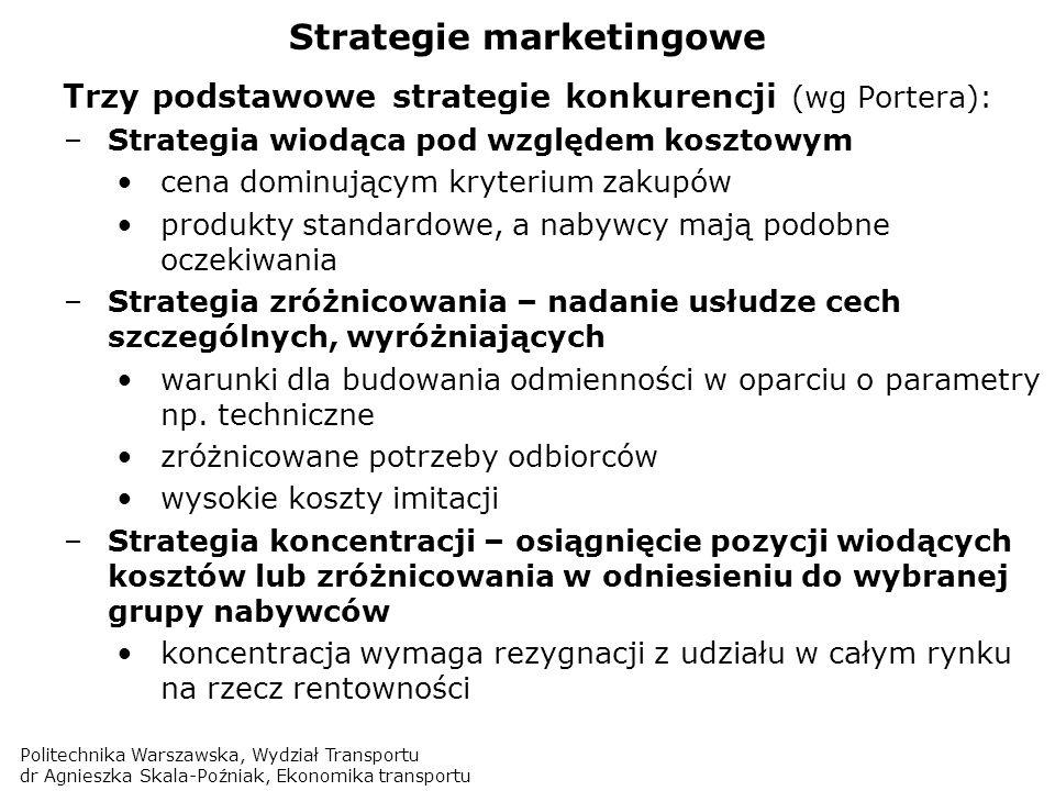 Politechnika Warszawska, Wydział Transportu dr Agnieszka Skala-Poźniak, Ekonomika transportu Strategie marketingowe Trzy podstawowe strategie konkuren