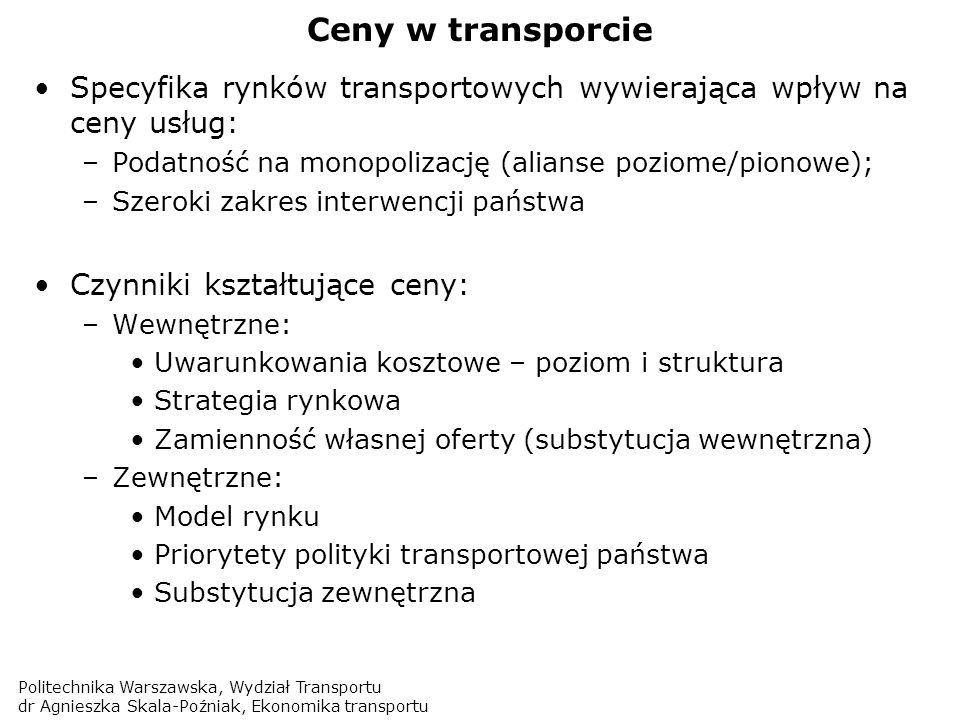 Politechnika Warszawska, Wydział Transportu dr Agnieszka Skala-Poźniak, Ekonomika transportu Ceny w transporcie Specyfika rynków transportowych wywier