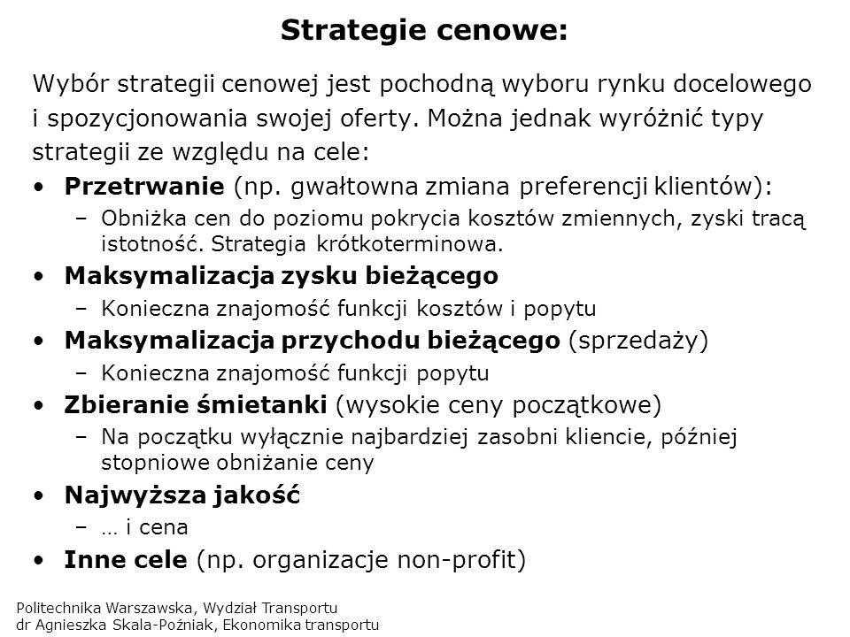 Politechnika Warszawska, Wydział Transportu dr Agnieszka Skala-Poźniak, Ekonomika transportu Strategie cenowe: Wybór strategii cenowej jest pochodną w