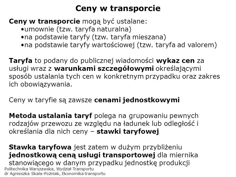 Politechnika Warszawska, Wydział Transportu dr Agnieszka Skala-Poźniak, Ekonomika transportu Ceny w transporcie Ceny w transporcie mogą być ustalane: