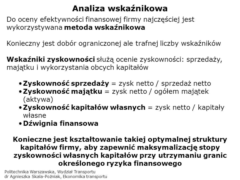 Politechnika Warszawska, Wydział Transportu dr Agnieszka Skala-Poźniak, Ekonomika transportu Analiza wskaźnikowa Do oceny efektywności finansowej firm