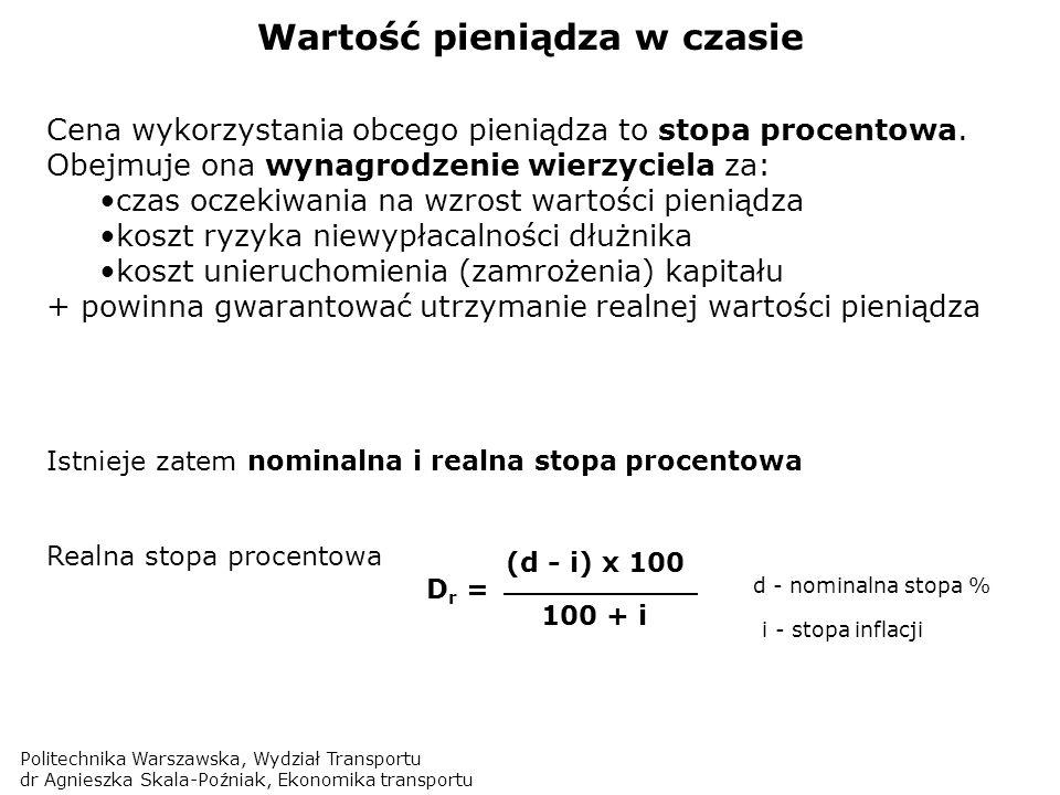 Politechnika Warszawska, Wydział Transportu dr Agnieszka Skala-Poźniak, Ekonomika transportu Wartość pieniądza w czasie Istnieje zatem nominalna i rea