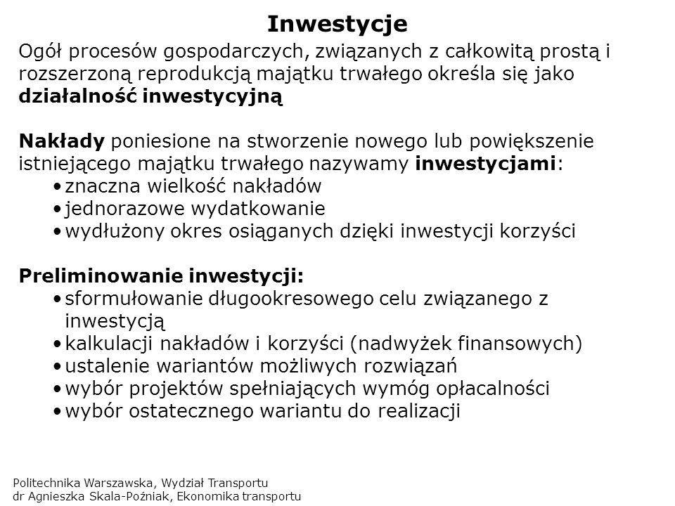 Politechnika Warszawska, Wydział Transportu dr Agnieszka Skala-Poźniak, Ekonomika transportu Inwestycje Ogół procesów gospodarczych, związanych z całk