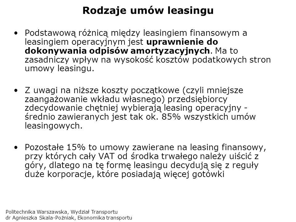 Politechnika Warszawska, Wydział Transportu dr Agnieszka Skala-Poźniak, Ekonomika transportu Rodzaje umów leasingu Podstawową różnicą między leasingie