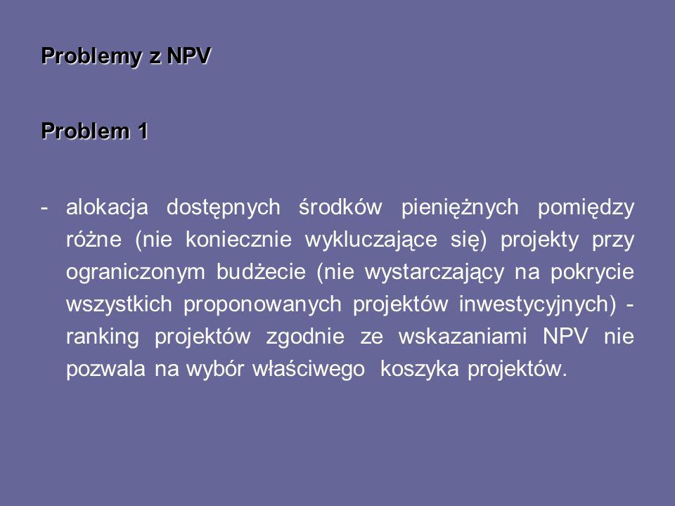 Problemy z NPV Problem 1 -alokacja dostępnych środków pieniężnych pomiędzy różne (nie koniecznie wykluczające się) projekty przy ograniczonym budżecie
