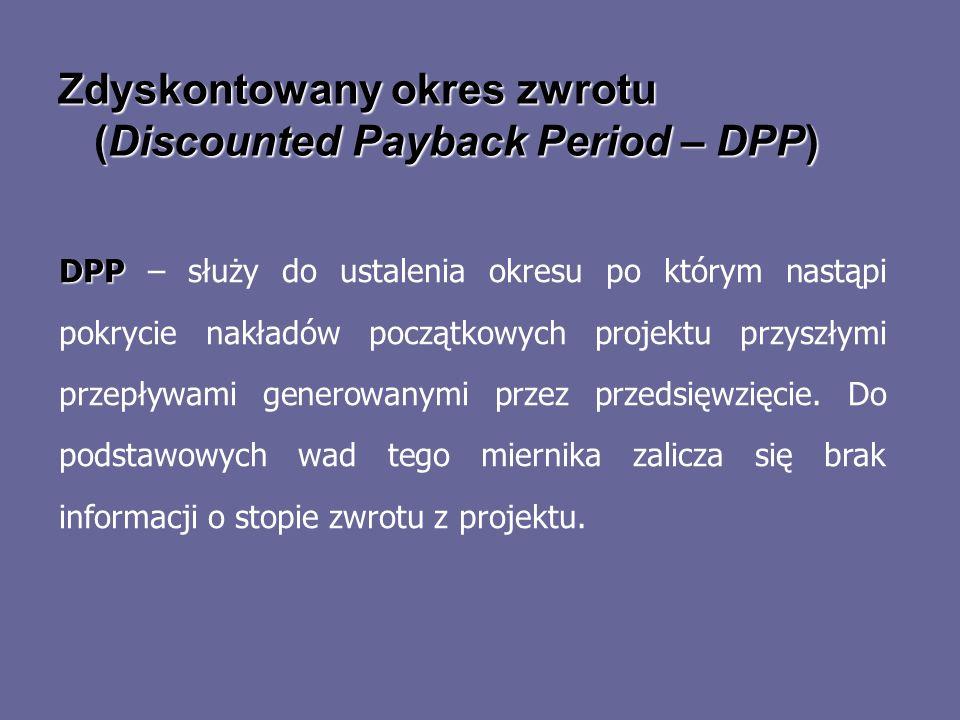 Zdyskontowany okres zwrotu (Discounted Payback Period – DPP) DPP DPP – służy do ustalenia okresu po którym nastąpi pokrycie nakładów początkowych proj