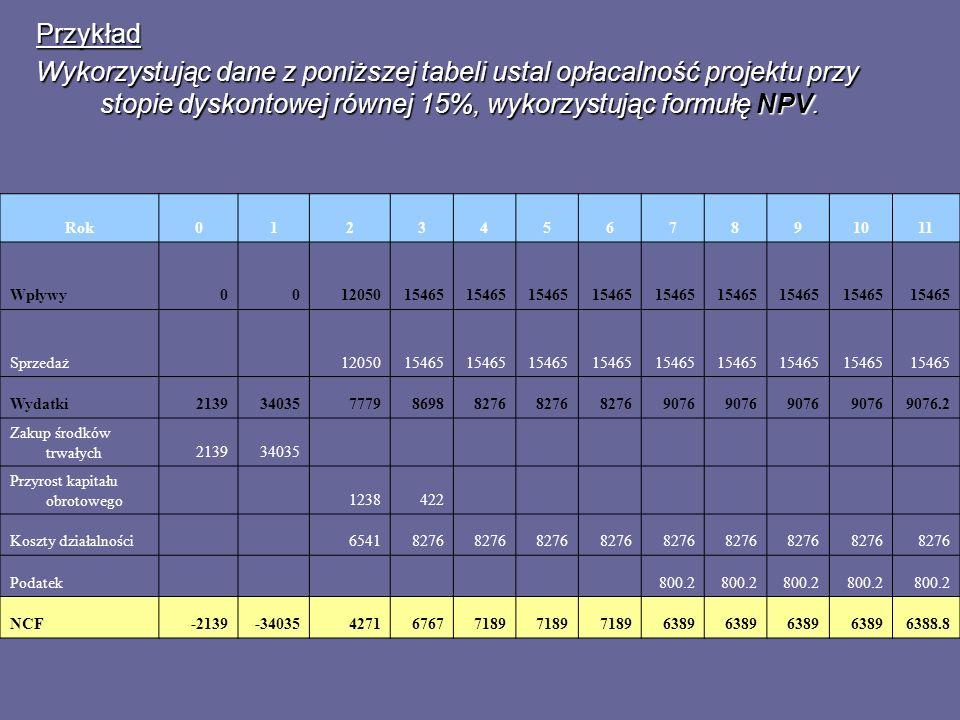 Przykład Wykorzystując dane z poniższej tabeli ustal opłacalność projektu przy stopie dyskontowej równej 15%, wykorzystując formułę NPV. Rok0123456789